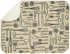InterDesign iDry Microfiber Dish Drying Mat, 18-Inch by 16-Inch, Wheat/Ivory