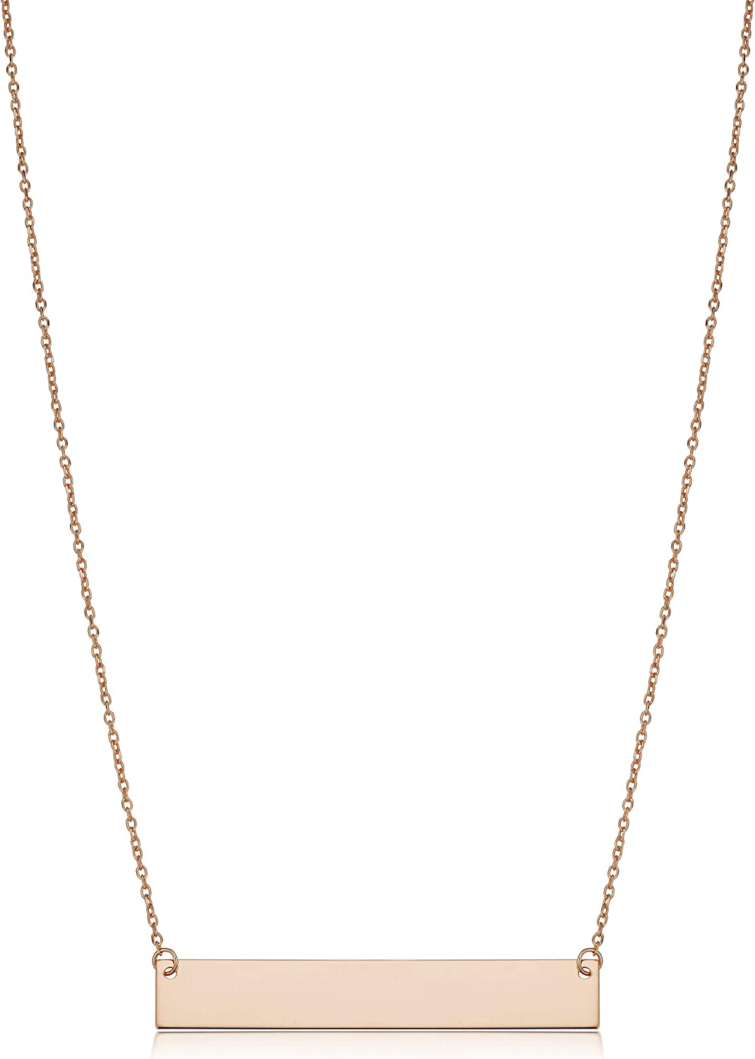 Kooljewelry 10k Yellow, White or Rose Gold 1.5 inch Polished Bar Necklace (18 inch)