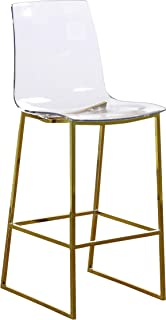 Meridian Furniture Lumen Collection Modern   Contemporary Acrylic Counter Stool with Stainless Steel Base in Rich Gold Finish, 16.5
