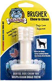 Bullibone Brusher: Dog Teeth Cleaning Bristly Brushing Toothbrush Stick - Long Lasting Nylon Peppermint Chew Toy for Dog Oral Care and Dental Health