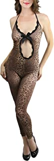 Women's Front Oval Cut Out Leopard Footless Bodystocking