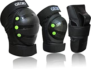 GEQID Youth/Kids Knee Pads Elbow Pads Wrist Guards 3 in 1 Protective Gear Set for Child Skateboarding Inline Roller Skating Rollerblade Biking BMX Bicycle