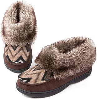 Zigzagger Faux Fur Bootie Slippers, Memory Foam Winter House Shoes