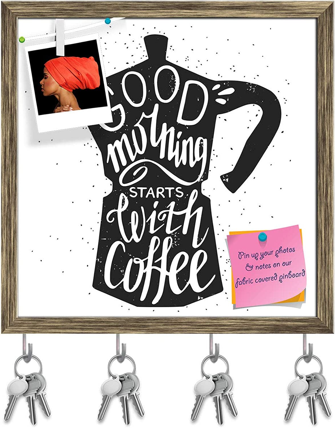 Artzfolio Good Morning Starts with Coffee Key Holder Hooks   Notice Pin Board   Antique golden Frame 20 X 20Inch