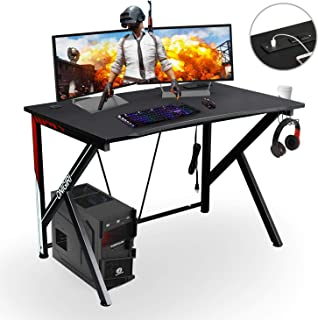 Computer Gaming Desk with Large Carbon Fiber Surface Cup Holder & Headphone Hook for Home or Office, Gaming PC Desk Table (White)