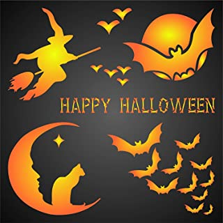 """HALLOWEEN CARD STENCIL (size 5""""w x 5""""h) Reusable Stencils for Painting - Best Quality Scrapbooking Halloween Idea - Use on Walls, Floors, Fabrics, Glass, Wood, Cards, and More…"""