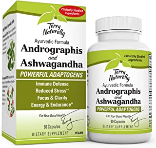 Terry Naturally Andrographis and Ashwagandha, 60 Capsules - Clinically Studied Adaptogens - Immune Defense, Stress Support...