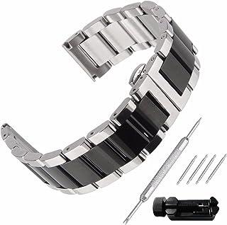 Beauty7 Bracelet de montre unisexe en acier inoxydable, 16 mm, 18 mm, 20 mm, 21 mm, 22 mm, 23 mm, 24 mm, noir, argenté, de...