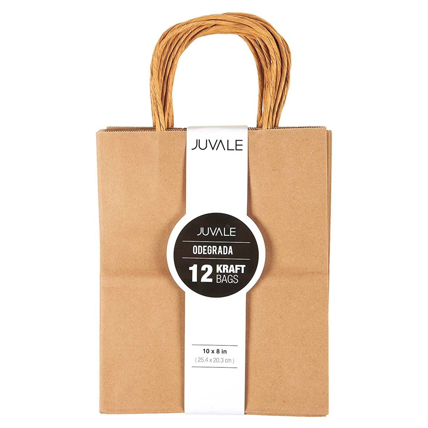 12-Count Brown Kraft Bags - Paper Bags with Handles, Great as Wedding Favor Bags, Shower Favor Bags, Bridal Party Gift Bags, Medium, 8 x 10 x 4.5 Inches