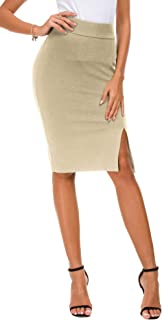 EXCHIC Donna Vita Alta Gonna Elastico Bodycon Midi Gonna