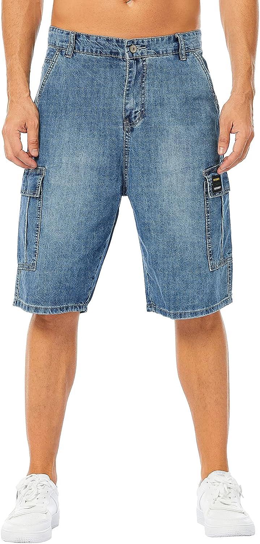 LONGBIDA Men's Loose Fit Denim Cargo Shorts with Multi Pockets