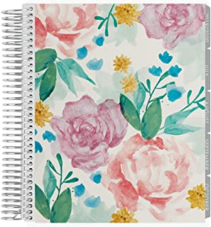 Erin Condren 18-Month 2019-2020 Coiled Life Planner 7x9 (July 2019-December 2020) - Watercolor Blooms, Horizontal (Neutral Layout)