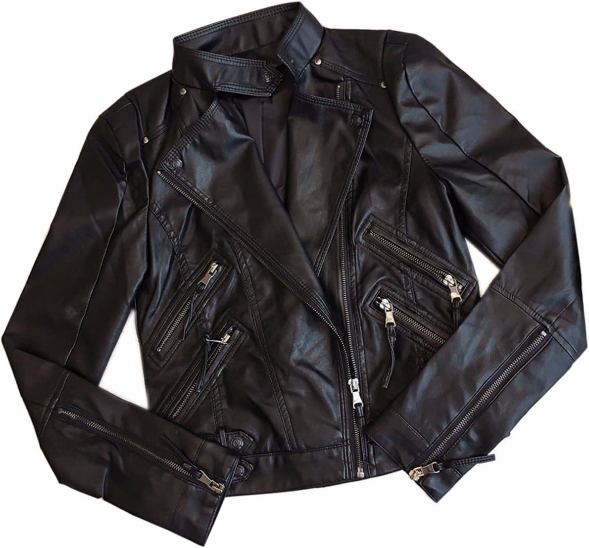 OLQMY Women's short, PU leather, motorcycle coat, slim slim lady jacket,XL