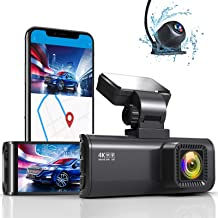 """REDTIGER 4K Dual Dash Cam Built-in WiFi GPS Front 4K/2.5K and Rear 1080P Dual Dash Camera for Cars,3.16"""" Display,170° Wide..."""