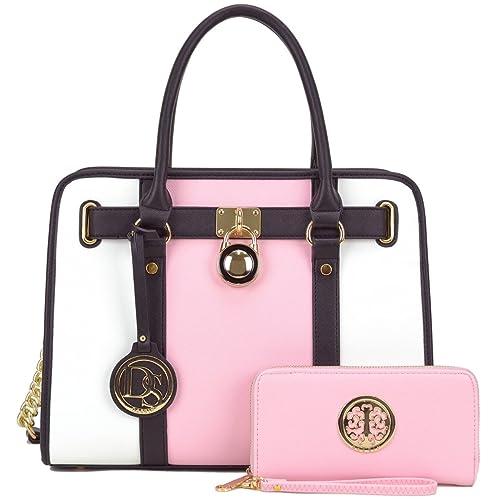DASEIN Women s Fashion Handbags Shoulder Bag Satchel Purse Tote Top Handle  Work Bag 2pcs Set for 908e60d0bc6e1