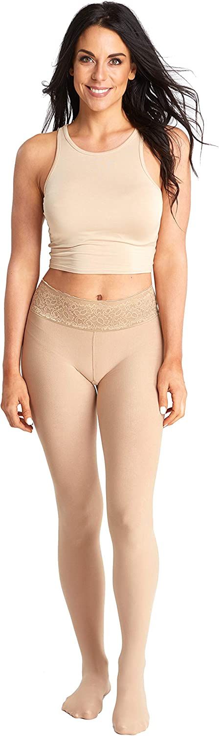 Opaque Nude Fashion Tights | Comfortable Stay Up Top | Seven Sizes- Plus Sizes