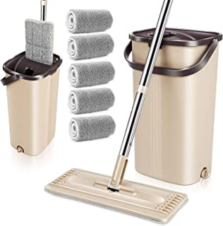 MASTERTOP Flat Mop and Bucket with Wringer Set - Microfiber Mop Floor Cleaning System, Wet Dry Mop, Stainless Steel Handle...
