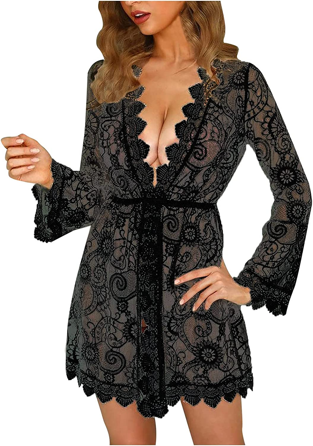 Sexy Lace Robe Kimono for Women Limited price sale Nightgown V Babydoll Deep Baltimore Mall Linger