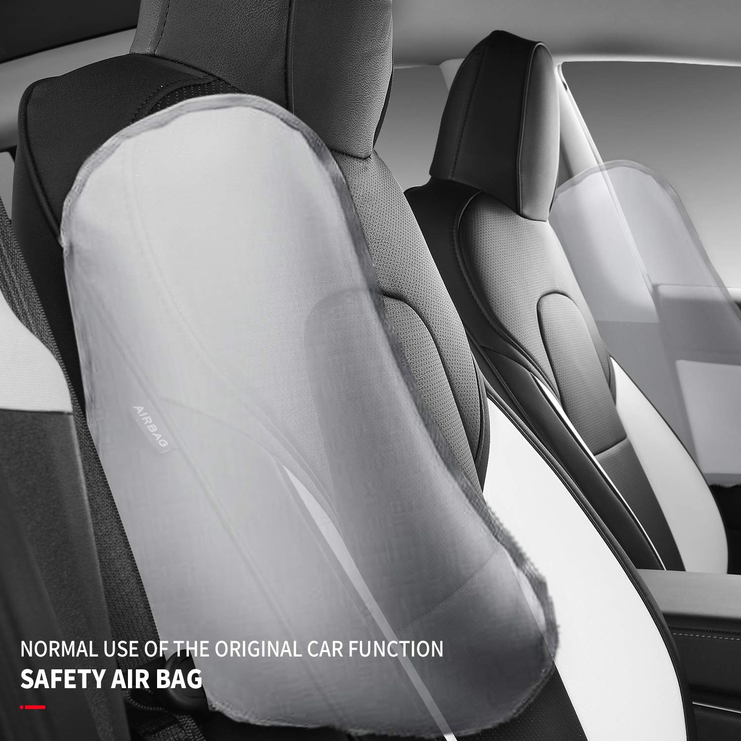 Xipoo for Tesla Model 3 Model Y Car Seat Cover PU Leather Cover All Season Protection 5pcs for Tesla Model 3 Model Y White+Black