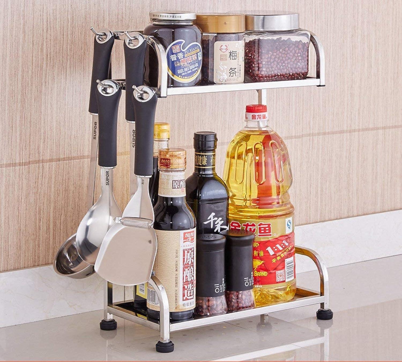 Der Kitchen Seasoning Rack Stainess Stee Storage Sheves Wa-Hung Foor Storage Rack Storage Shelves (Size   300  150  410mm)