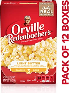 Orville Redenbacher's Light Butter Microwave Popcorn, Classic Bag, 3-Count (Pack of 12)