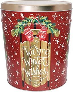 C.R. Frank Popcorn - Gourmet Popcorn Tin, 3.5 Gallon, Warm Winter Wishes (Butter, Cheese, and Caramel)