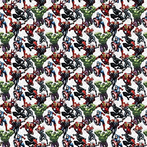 Increíble Hulk Iron Man Capitán América Thor Marvel Material Marvel Por metro – 110 cm de ancho – 50 x 110 cm (19 x 43 pulgadas) 100 % algodón de gran calidad. Perfecto para proyectos de manualidades, patchwork, acolchado, banderines, proyectos de in...