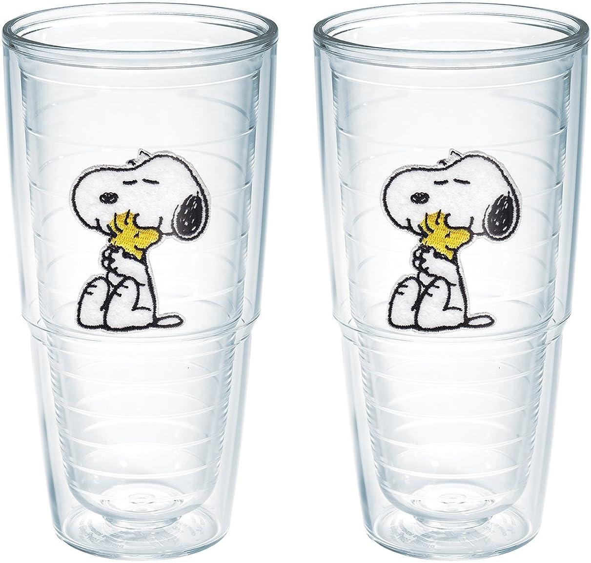 よろめくフェンス高架Tervis Peanuts Snoopy and Woodstock Tumbler, 710ml, 2-Pack