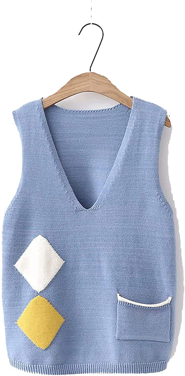 koweis Women Knitted Sweater Vest New and Casual V Neck Sleeveless Pullover Vest Female