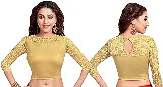 Golden Long Long Sleeve Top Tank Lycra Stretchable Women Saree Blouse Girls Crop Lehenga Skirt Sari Regular