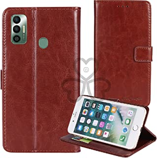 TienJueShi Brown Book Stand Retro Flip Leather Protector Phone TPU Silicone Case For Tecno Spark 7 Pro 6.6 inch Gel Cover ...