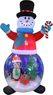 8 Foot Tall Christmas Inflatable Snowman Globe with Penguins and Gift Box Christmas Tree Decor Outdoor Indoor Holiday Decorations, Blow Up LED Lighted Yard Decor, Giant Lawn Inflatable for Home Family