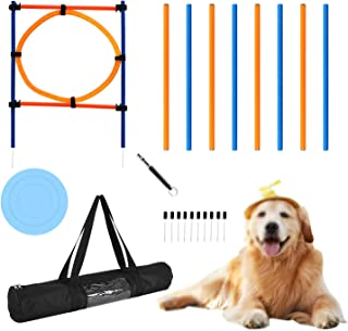YON.SOU.Dog Agility Equipment Obstacle Course Training Equipment Suitable for Agility Speed Training Jumps.Includes Dog Agility Poles Jump Hoops,Dog Frisbee Training Whistle pet Toy with Carrying Bag