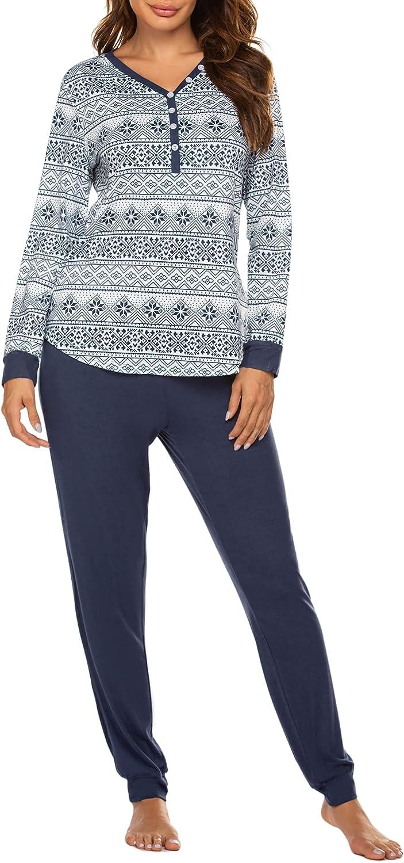 Ekouaer Women's Pajamas Set Long Sleeve Sleepwear with Long Pants Christmas Loungewear Print PJ Set S-XXL