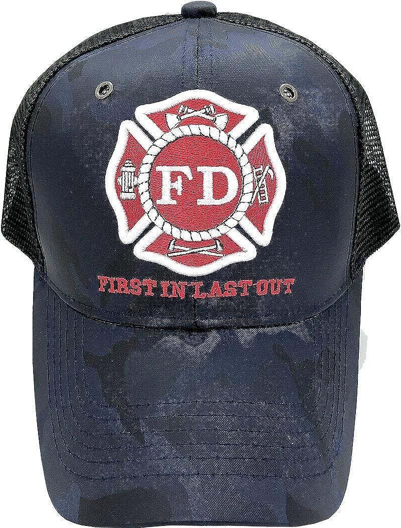 Fire Department - First in Last Out Fireman Officer Gear Uniform Baseball Cap Hat Adjustable