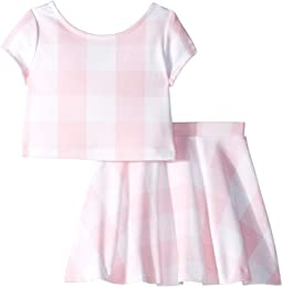 Gingham Top & Skirt Set (Little Kids)