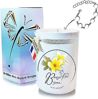 AG Artgosse Bougie Bijoux 170ml • Bougie Parfumée Monoï de Tahiti + Bracelet Cristal Swarovski éléments Femme • Coffret Ca...