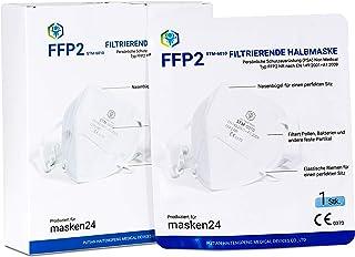 MASKEN24 STM 6010 gecertificeerd FFP2-masker, opvouwbaar, 10 stuks afzonderlijk verpakt in PE-zak, 4-laags mondmasker