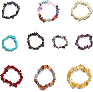 10 Pcs Natural Gemstone Chakra Crystal Bracelet Set Healing Chip Gemstone Stretch Bracelets Colorful Stone Bracelet for Wo...