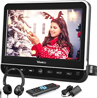 Vanku 10.1 Inch Car Headrest DVD Player with Mount, Headphone, HDMI Input, 1080P Video, Region Free, USB SD, AV in Out, La...