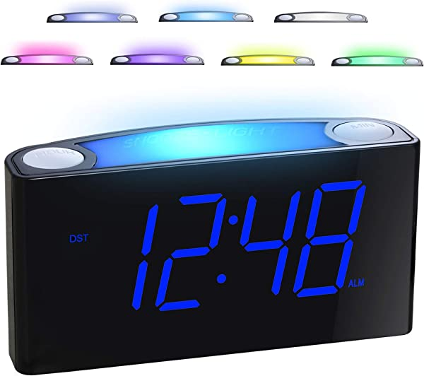Alarm Clock For Bedrooms 7 Color Night Light 2 USB Chargers 7 Large LED Display With Slider Dimmer 12 24 H Battery Backup Big Snooze Plug In Loud Alarm Clock For Heavy Sleeper Kid Teen Elderly