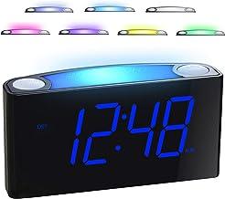 """ساعت زنگ دار برای اتاق خواب ها - 7 رنگ شب نور، شارژر 2USB، 7 """"صفحه نمایش بزرگ LED با دینامتر لغزان، 12/24 H، پشتیبان گیری باتری، تعویق بزرگ، دفترچه راهنما ساعت با صدای بلند برای خوابگاه های سنگین، کودکان، نوجوانان"""