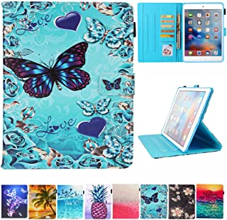 JZCreater Case for iPad Pro 9.7 2016- Kickstand Flip Wallet Case with Auto Sleep/Wake Leatherette Protective Case Cover, Butterfly