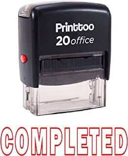 Printtoo Self Inking Rubber Stamp COMPLETED Office Stationary Custom Stamp-Red