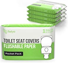 Toilet Seat Covers Paper Flushable (50 Pack) - XL Flushable Paper Toilet Seat Covers for Adults and Kids Potty Training, 1...