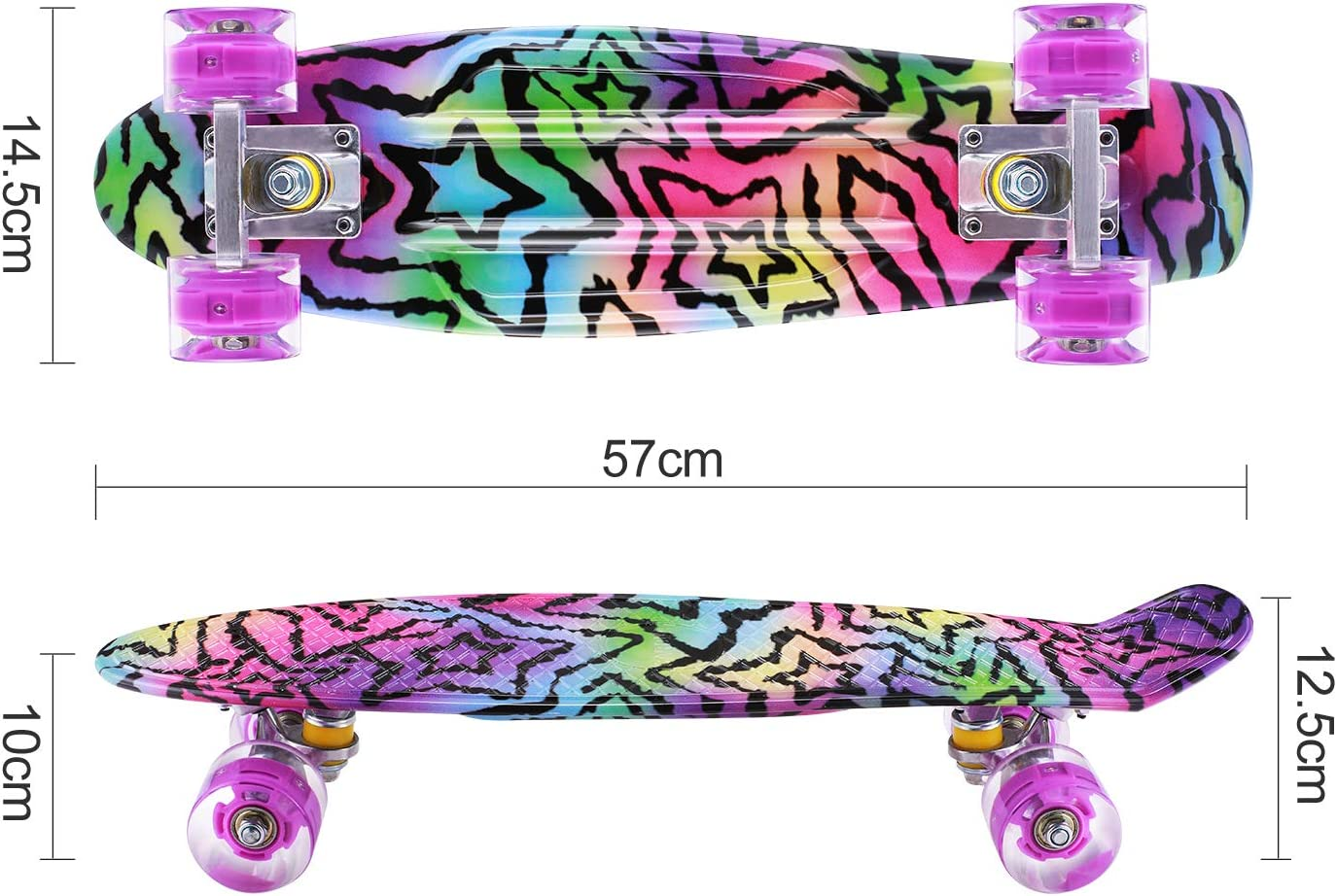 komplette Mini Skateboards 22 Zoll Cruiser mit LED Light Up Wheels f/ür Anf/änger Boys Teens CAROMA Kids Skateboards