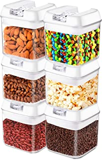 Frebw Airtight Food Storage Containers, 6 BPA Free Plastic Cereal Containers with Easy Lock Lids, for Kitchen Pantry Organ...