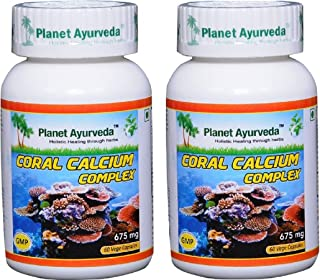 Planet Ayurveda Coral Calcium, 625mg Veg Capsules - 2 Bottles