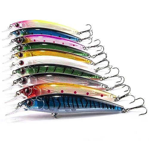 JOYOOO Señuelos de Pesca Profundo Cebos Minnow Swimbaits Hardbaits para Siluro lucio 11cm, Paquete de