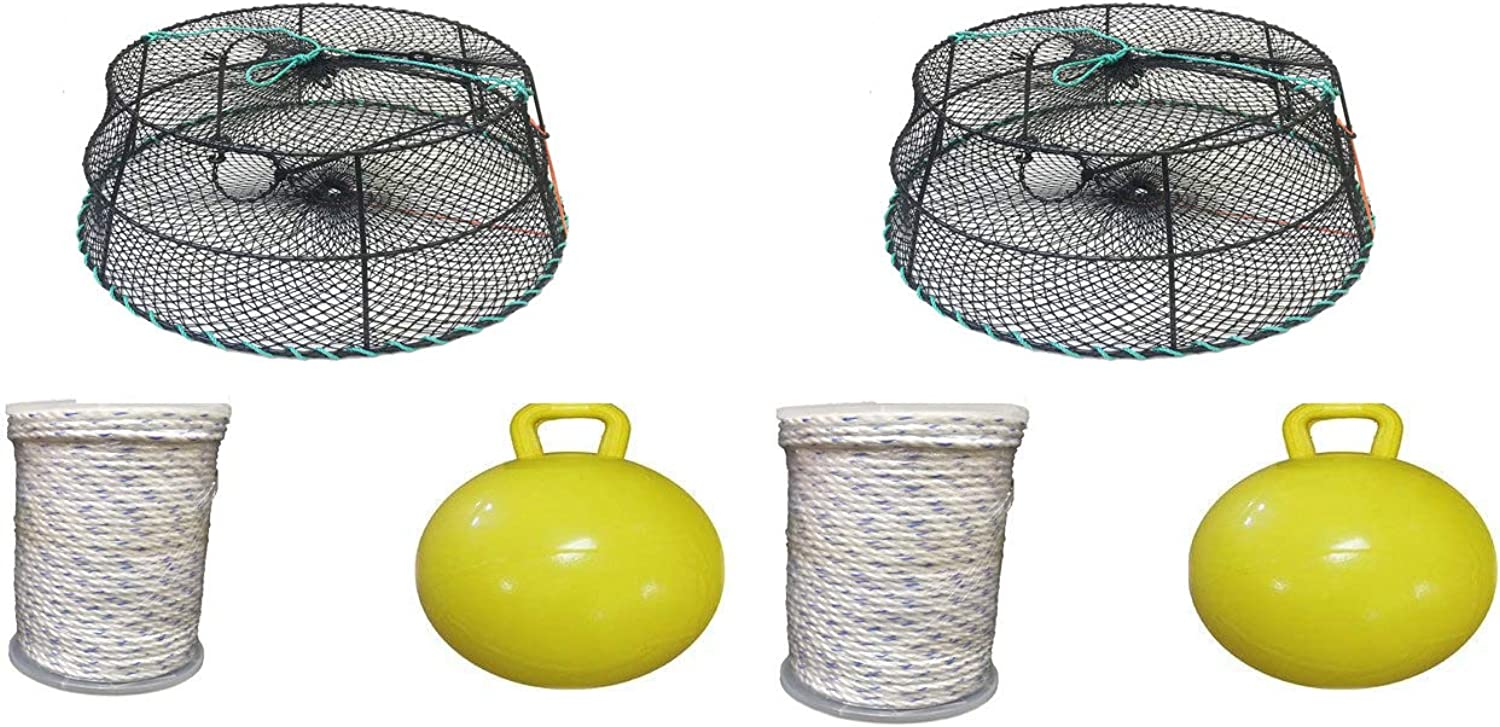 KUFA Sports (CT78+FYM405 Vinyl Coated Tower Style Prawn Trap (30 x20 x12 H, Mesh 1-1 8 ) with Prawn Trap Accessory Combo